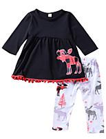 Недорогие -Девочки Повседневные Праздники С принтом Набор одежды, Хлопок Лето Длинный рукав Активный Черный