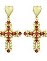 cheap -Women's Cross / Heart Rhinestone Imitation Tourmaline Drop Earrings - Casual / Fashion Gold Earrings For Gift / Date