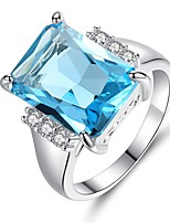 cheap -Women's Band Ring Synthetic Aquamarine Cubic Zirconia Rhinestone Light Blue Austria Crystal Circle Vintage Elegant Wedding Engagement