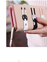 Недорогие -Жен. Мешки PU Бумажники Пуговицы для Повседневные Черный / Розовый / Хаки