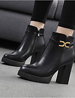 cheap -Women's Shoes PU Spring Fall Comfort Boots Chunky Heel Closed Toe Booties / Ankle Boots for Black