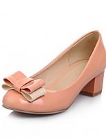 Недорогие -Жен. Обувь Дерматин Весна / Осень Удобная обувь / Оригинальная обувь Обувь на каблуках На толстом каблуке Круглый носок Бант Красный /