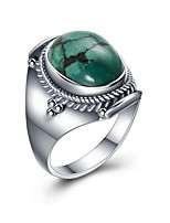 cheap -Men's Turquoise S925 Sterling Silver Band Ring - Circle European For Gift