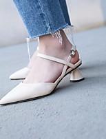 abordables -Mujer Zapatos Cuero Primavera Confort Tacones Tacón Carrete Negro / Beige