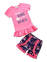 cheap -Girls' Daily Going out Geometric Print Patchwork Clothing Set, Cotton Polyester Summer Short Sleeves Cute Active White Black Blushing