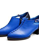 preiswerte -Damen Schuhe Nappaleder / Leder Frühling / Herbst Komfort High Heels Blockabsatz Schwarz / Blau