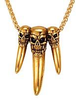 abordables -Homme Femme Crâne Acier inoxydable Pendentif de collier  -  Mode Or Argent 55cm Colliers Tendance Pour Quotidien