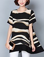 cheap -Women's Street chic Blouse - Striped Color Block, Patchwork