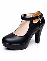 abordables -Mujer Zapatos Cuero Primavera / Verano Pump Básico Tacones Tacón Cuadrado Dedo redondo Hebilla Blanco / Negro