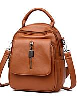 Недорогие -Жен. Мешки PU рюкзак Молнии Сплошной цвет Коричневый / Черный