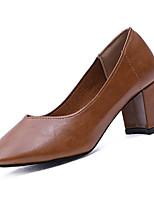 Недорогие -Жен. Обувь Полиуретан Весна / Лето Удобная обувь Обувь на каблуках На толстом каблуке Квадратный носок Черный / Серый / Хаки