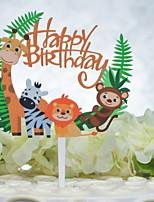 Недорогие -Украшения для торта День рождения Животный принт Acryic / полиэстер День рождения с Акрил 1pcs Пенополиуретан
