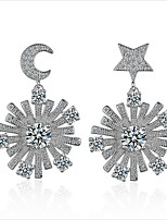 cheap -Women's Moon / Snowflake / Star Sterling Silver / Zircon / Gold Plated Stud Earrings / Hoop Earrings - Fashion / Korean / European Silver
