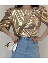 baratos -Mulheres Camiseta Luva Lantern Franjas, Sólido Algodão