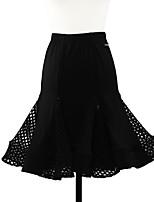 abordables -Danse latine Bas Fille Utilisation Coton cristal Combinaison Ruché Taille moyenne Jupes