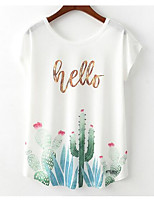 cheap -Women's Basic T-shirt - Floral / Letter