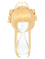 cheap -Synthetic Wig Straight Layered Haircut Natural Hairline Golden Women's Machine Made Cosplay Wig Mid Length Synthetic Hair Christmas