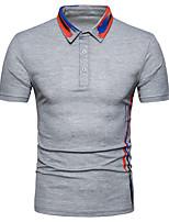 cheap -Men's Street chic Polo - Striped Color Block Print