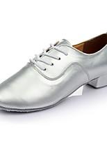 abordables -Hombre Zapatos de Baile Latino PU Zapatilla Tacón Plano Personalizables Zapatos de baile Plata / Interior