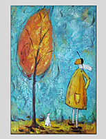 cheap -Oil Painting Hand Painted - People Floral / Botanical Modern Canvas