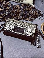 Недорогие -Жен. Мешки PU Вечерняя сумочка Пуговицы / Кристаллы Черный