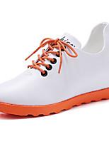 abordables -Femme Chaussures Polyuréthane Printemps Automne Botillons Basket Talon Plat Bottine / Demi Botte pour Blanc Noir