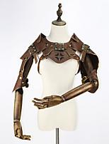 abordables -Vacances Steampunk Costume Femme Corset Marron Vintage Cosplay Cuir Manches Courtes Mancheron