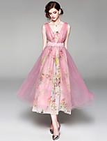 Недорогие -Жен. Изысканный Богемный А-силуэт С летящей юбкой Платье - Цветочный принт, Кружева Сетка Макси