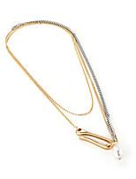 abordables -Femme Décalage Perle Perle Plaqué or Pendentif de collier  -  Décalage Mode Coréen Forme de Ligne Irrégulier Or 35cm Colliers Tendance