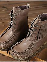 abordables -Mujer Zapatos Cuero Cuero de Napa Otoño Invierno Botas de Moda Confort Botas Tacón Plano Botines / Hasta el Tobillo para Casual Caqui