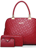 cheap -Women's Bags PU Bag Set 3 Pcs Purse Set Zipper for Casual Fall Winter Blue Black Red