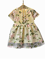 cheap -Girl's Daily Floral Dress, Rayon Polyester Summer Short Sleeves Basic Blushing Pink Yellow