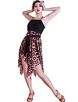 abordables -Danse latine Robes Femme Entraînement Fil élastique Fibre de Lait Ceinture / Ruban Sans Manches Taille moyenne Robe