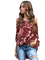 cheap -Women's Holiday Blouse - Floral Boat Neck