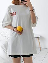 Недорогие -Жен. С принтом Футболка Классический Однотонный Буквы