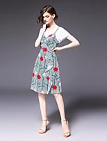 abordables -Femme Actif Set - Rayé Fleur, Imprimé Robes