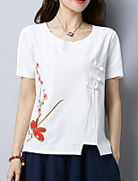 abordables -Tee-shirt Femme,Fleur Brodée Chinoiserie