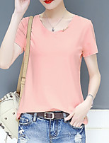 cheap -Women's Daily / Holiday Basic Cotton / Polyester Loose T-shirt - Solid Colored Cut Out V Neck