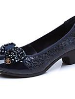 abordables -Femme Chaussures Cuir Printemps / Automne Confort Chaussures à Talons Talon Bottier Noir / Bleu