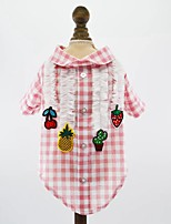 cheap -Dogs Cats Pets Shirt / T-Shirt Dog Clothes Plaid / Check Fruit Princess Red Blue Pink Cotton / Polyester Costume For Pets Male Stylish