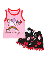 cheap -Girls' Daily Sports Rainbow Clothing Set, Cotton Polyester Spring Summer Sleeveless Cute Active Blushing Pink