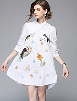 cheap -SHE IN SUN Women's Cute Basic A Line Shirt Dress - Animal Embroidered