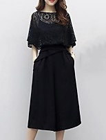 cheap -Women's Sophisticated Street chic Batwing Sleeve Set - Solid Colored, Lace Pant