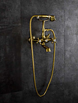 cheap -Bathtub Faucet - Antique Ti-PVD Wall Mounted Brass Valve / Two Handles Two Holes