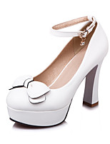 cheap -Women's Shoes PU Spring Fall Novelty Comfort Heels Chunky Heel Round Toe Bowknot Buckle for Office & Career Party & Evening White Black