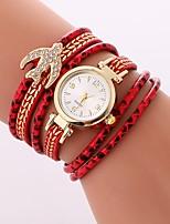 baratos -Mulheres Quartzo Bracele Relógio Chinês imitação de diamante Relógio Casual PU Banda Casual Boêmio Preta Branco Azul Vermelho Verde Rose