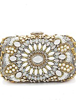 cheap -Women's Bags Polyester Evening Bag Beading Crystal Detailing for Wedding Event/Party All Seasons Beige