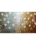 preiswerte -Hang-Ölgemälde Handgemalte - Abstrakt Blumenmuster/Botanisch Zeitgenössisch Modern Segeltuch