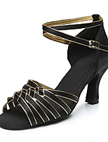 cheap -Women's Latin Shoes Leatherette Sandal Outdoor / Professional High Heel Customizable Dance Shoes Brown / Black / Gold / Red