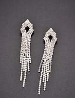 cheap -Women's Cubic Zirconia Rhinestone Drop Earrings - Tassel Vintage Elegant Line For Wedding Party